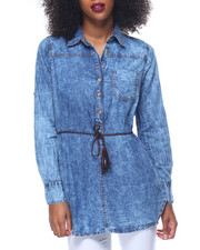 Polos & Button-Downs - Marble Wash Belted Denim Tunic