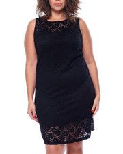 Fashion Lab - Crochet Lace Keyhole Back Dress (Plus)