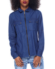 Polos & Button-Downs - Zip Front Cotton Denim Shirt