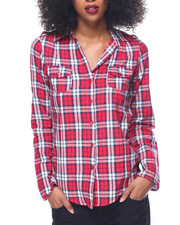 Polos & Button-Downs - Yarn Dyed Plaid Hi-Low Hem Roll Tab Shirt