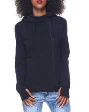 Fashion Lab - Side Zip French Terry Hi-Low Hem Hoodie