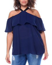 Plus Size - Georgette Cold Shoulder Halter Top (Plus)