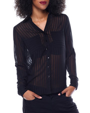 Polos & Button-Downs - Shadow Stripe Georgette Top