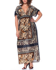 Fashion Lab - Animal Mixed Print Kimono Maxi Dress (Plus)