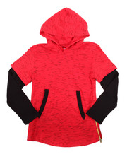 Boys - L/S ELONGATED MARLED HOODY (8-20)