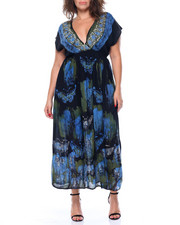 Fashion Lab - Butterfly Stamp Print Kimono Maxi Dress (Plus)