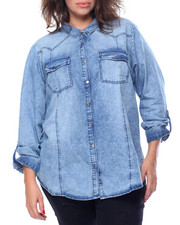 Polos & Button-Downs - Sandblasted Denim Western Boyfriend Cotton Shirt (Plus)