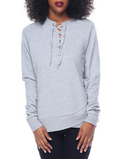 Fashion Lab - Criss Cross Hem Lace-Up French Terry Sweatshirt