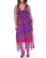 Fashion Lab - Wave Chevron Print Embellished Smocked Waist Chiffon Maxi (Plus)