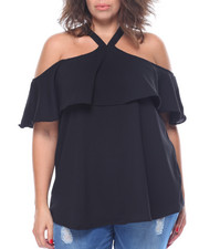 Tops - Georgette Cold Shoulder Halter Top (Plus)