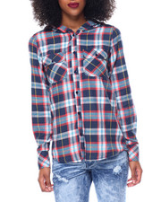 Polos & Button-Downs - Cotton Flannel Hooded Hi/Low Hem Shirt