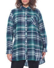 Polos & Button-Downs - Brushed Cotton Flannel Hi Slits Roll Tab Tunic (Plus)