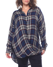 Women - Oversized Draped Front Yarn Dyed Plaid Shirt (Plus)