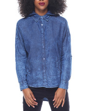 Polos & Button-Downs - Marble Wash Hooded Denim Hi-Low Hem Shirt