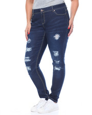 Women - Rips & Tears Tops Stitched Stretch Skinny Jean