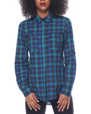 Polos & Button-Downs - Boyfriend Yarn Dyed Plaid Shirt