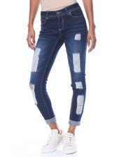Women - Destructed Sandblasted Skinny Boyfriend Mini Roll Stretch Jean