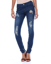 Fashion Lab - Destructed Creased Flap Pockets Stretch Skinny Jean