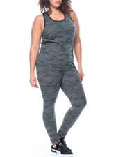 Women - Camoflash Jacquard Crop Tank And Legging Set (plus)