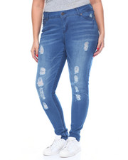 Women - Rips & Tears Sandblasted Stretch Skinny Jean (Plus)