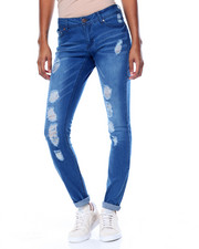 Women - Rips & Tears Sandblasted Stretch Skinny Jean