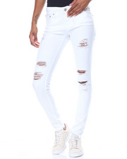 Skinny - Destructed Sandblasted Flap Back Pockets Skinny Jean