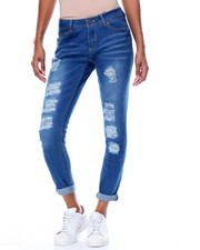 Women - Heavy Rips & Tears Boyfriend Roll Cuff Jean