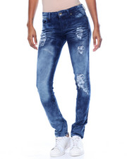 Women - Sandblasted Destructed Tinted Wash Stretch Skinny Jean