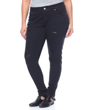 Women - Destructed Creased Flap Pockets Stretch Skinny Jean