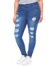 Plus Size - Rips & Tears Tops Stitched Stretch Skinny Jean