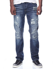 Men - Distressed Moto Jeam