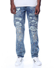 Men - Orange Paint Splatter Distressed Jean
