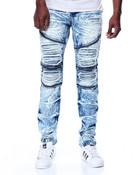 Slim Fit Premium Wash Moto Denim Jeans
