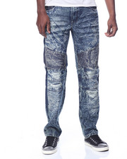 Men - Bleached Distressed Moto Jean