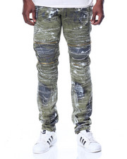Men - Grassy Wash Moto Denim Jeans