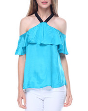 Women - Georgette Cold Shoulder Halter Top