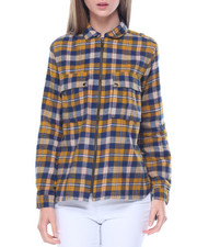 Fashion Lab - Zip Front Oversized Boyfriend Pocketed Flannel Shirt