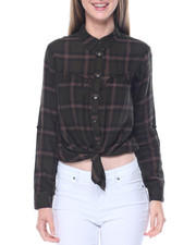 Fashion Lab - Fringe Yoke Tie Front Yarn Dyed Plaid Shirt
