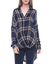 Polos & Button-Downs - Oversized Draped Front Yarn Dyed Plaid Shirt