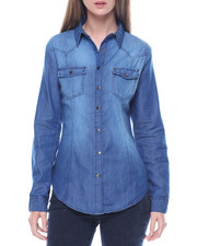 Fashion Lab - Sandblasted Denim Western Boyfriend Cotton Shirt