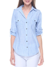 Fashion Lab - Stripe Chambray Cotton Hi-Low Hem Shirt