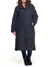Heavy Coats - Memory Maxi Puffer Long Coat W/Faux Fur Trim (plus)