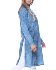 Polos & Button-Downs - Marble Wash Long Denim Duster