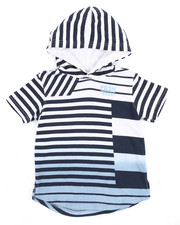 Tops - S/S FADED STRIPED HOODED TEE (2T-4T)