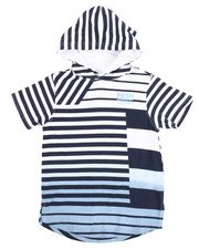 Boys - S/S FADED STRIPED HOODED TEE (4-7)