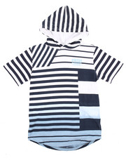 Boys - S/S FADED STRIPED HOODED TEE (8-20)