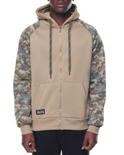 Men - Camo Print Fleece Zip hoodie