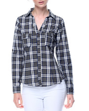 Fashion Lab - Zinch Back Yarn Dyed Plaid Shirt