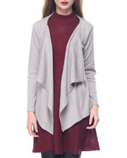 Fashion Lab - Heathered Open Front Asymmetrical Cardi