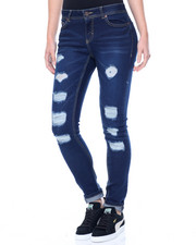 Fashion Lab - Rips & Tears Tops Stitched Stretch Skinny Jean